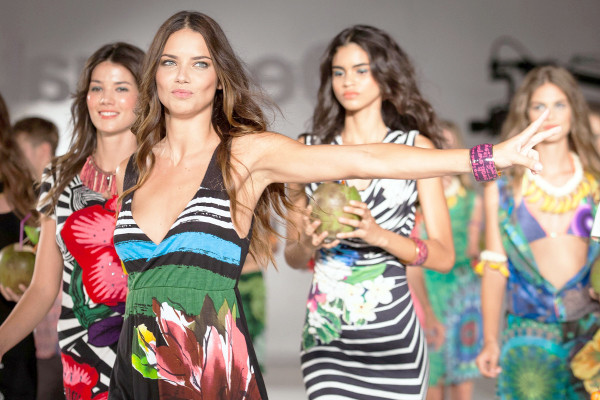 Adriana Lima models for Desigual