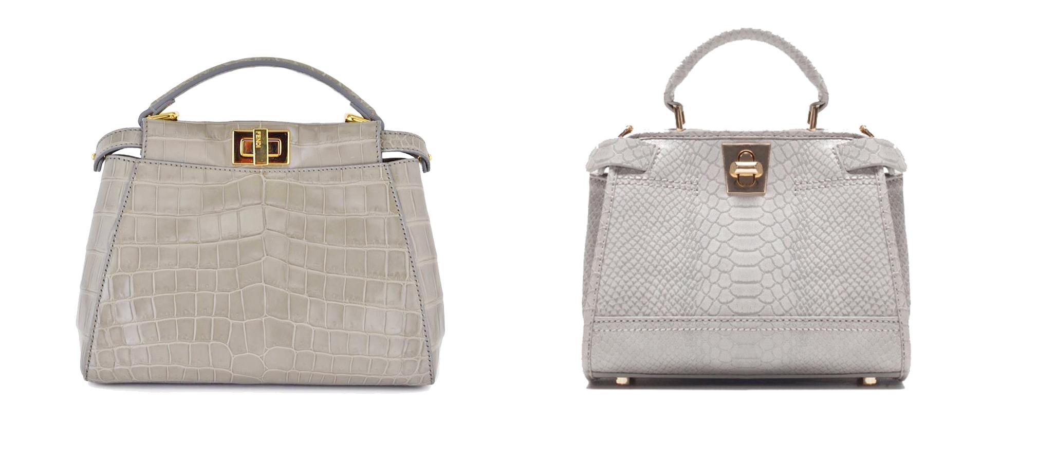 Gray grey crocodile Peekaboo Micro Satchel 17 000€  vs/ Mini sac city a double anse Zara 40 €
