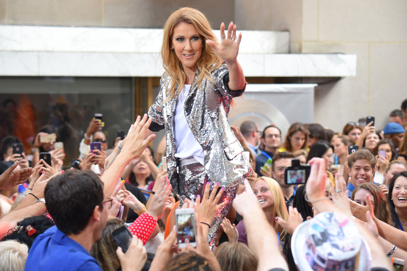 "NEW YORK, NY - JULY 22: Celine Dion performs on NBC's ""Today"" show at Rockefeller Plaza on July 22, 2016 in New York City. Michael Loccisano/Getty Images/AFP"