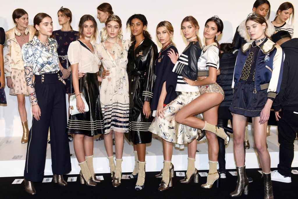 Mandatory Credit: Photo by Nina Westervelt/WWD/REX/Shutterstock (5586831q) Gigi Hadid and Hailey Baldwin backstage Hilfiger Collection show, Backstage, Fall Winter 2016, New York Fashion Week, America- 15 Feb 2016