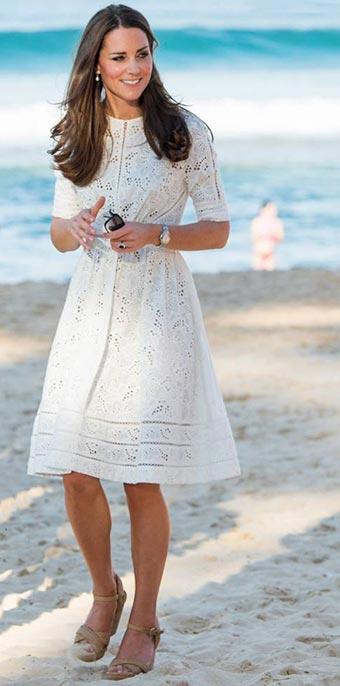 Kate middleton en robe blanche d'été