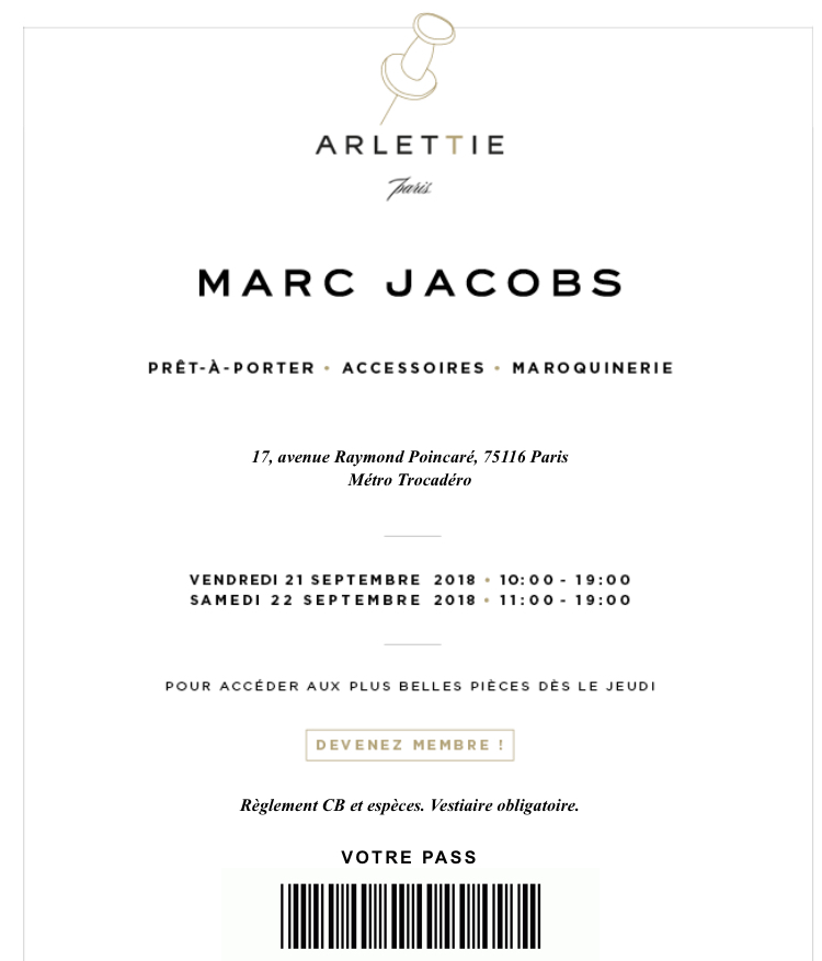vente privée Marc Jacobs