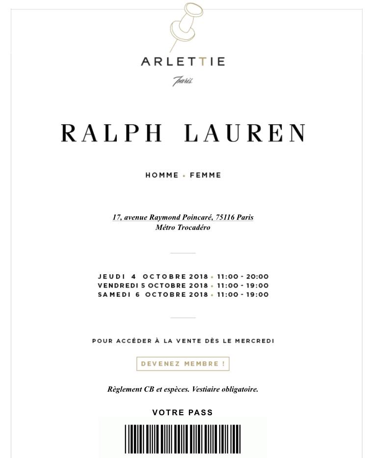 vente privée Ralph Lauren hiver 2018