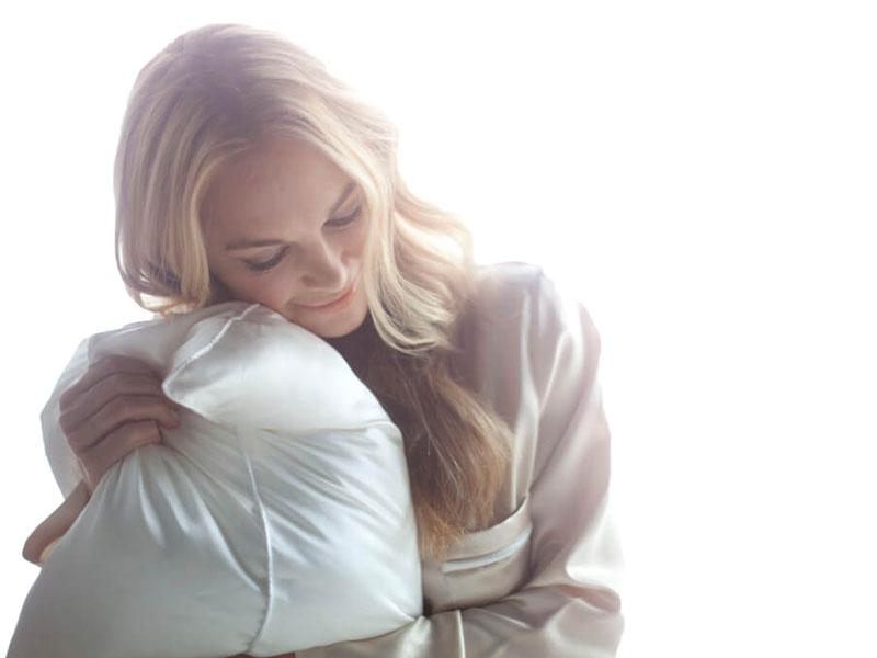 oreiller en soie soin